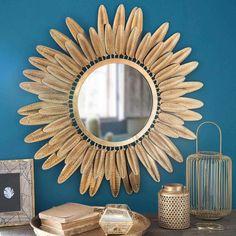 Specchio rotondo a piume in metallo dorato D.77cm PLUMA