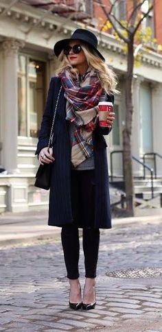 All black with colorful plaid scarf.