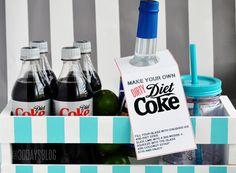 Dirty Diet Coke Kit www.thirtyhandmadedays.com. Never heard of it! Diet coke, lime wedge & coconut syrup ?