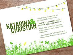 Hochzeitseinladung zum selbst ausdrucken.    Diese Hochzeitseinladung ist perfekt geeignet für eine Hochzeit im eigenen Garten.    Auf ein A4-Papie...