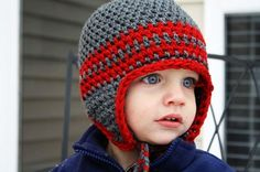 Crochet Pattern for Collegiate Earflap size Baby to Child Go Bucks PDF