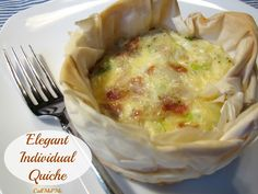Elegant Individual Quiche - customize with your favorite breakfast meat. Great for brunches and parties from CallMePMc.com