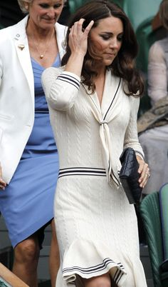 Kate Middleton at Wimbledon 2012 in an Alexander McQueen knit dress.