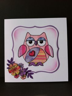Woodware Patch Owl. Paper piecing. Jofy flowers stamp.