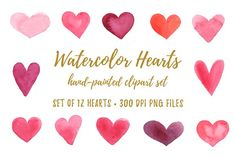 Watercolor Hearts Clipart PNG JPG by BirDIY Design on @creativemarket