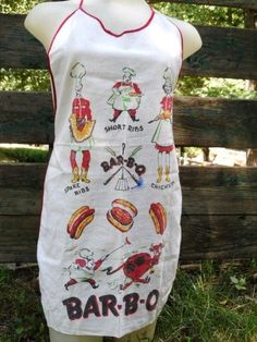 Vintage Linen Cotton Bib Apron Bar-B-Q Animated Bib Style Apron via Orphaned Treasures Etsy