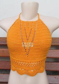 Celeida Ribeiro: Cropped de crochê!!                                                                                                                                                      Mais