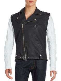 PIERRE BALMAIN Two-Tone Asymmetrical Zip Moto Jacket. #pierrebalmain #cloth #jacket