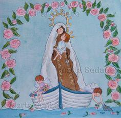 Virgen del Carmen ilustrated by Marta Sedano Blessed Mother, Mother Mary, Sacred Art, All Saints, Madonna, Folk Art, Princess Zelda, Marvel, Faith