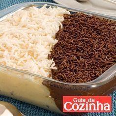 casadinho de travessa 200g de coco ralado 2 latas de leite condensado 2 xícaras (chá) de leite 2 colheres (sobremesa) de maisena 3 colheres (sopa) de margarina sem sal 1 xícara (chá) de chocolate em pó 2 latas de creme de leite 50g de coco ralado para decorar 1 xícara (chá) de chocolate granulado para decorar - Modo de preparo: Em uma panela, coloque o coco, 1 lata de leite condensado, 1 xícara (chá) do leite, 1 colher (sopa) de maisena e 2 colheres (so...
