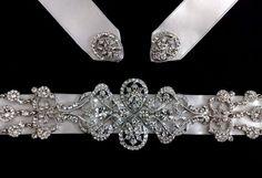 Statement Bridal Sash Art Deco Gatsby Wedding by YJDesign on Etsy, $229.00