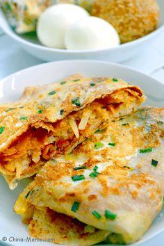 Chinese Breakfast Jian Bing, Bacon And Veggie Stuffed Eggy Pancake Meat Recipes, Asian Recipes, Cooking Recipes, Real Chinese Food, Chinese Breakfast, Asian Cooking, International Recipes, Food Preparation, Recipes