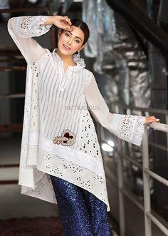 Best 12 Ammara Khan's 'Shooting Stars' Eid Collection 2018 – Niftilicious Simple Pakistani Dresses, Pakistani Dress Design, Pakistani Outfits, Indian Dresses, Kaftan Designs, Kurta Designs Women, Khadi Kurta, Kids Party Wear Dresses, Indian Designer Suits