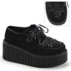 Demonia Shoes - CREEPER-216 Black Vegan Suede - Buy Online Australia Beserk
