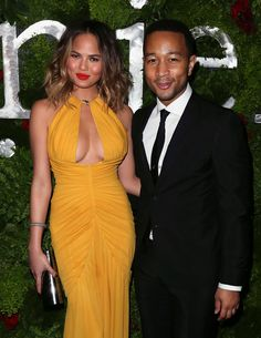 John Legend and Chrissy Teigen at the pre Grammys party
