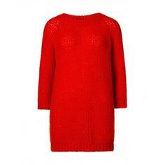 Maxi maglia,  maniche lunghe e scollo ampio, misto lana con lavorazione traforata bicolore.114UE1314   red