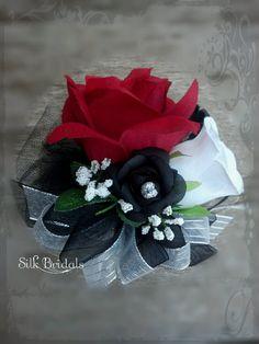 Red black white Roses WRIST Corsage Wedding Bridal flowers mother grandmother. $6.99, via Etsy.