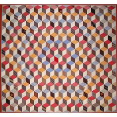 tumbling blocks antique quilt -- I want to find a crochet pattern for a diamond to make this in yarn