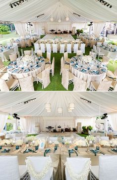 The reception of this hawaii wedding was a grand tented affair, with tables covered in reflective metallic, pops of blue and lush white blooms.