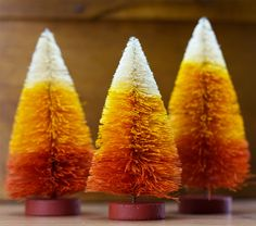 Candy Corn Bottle Brush Trees. Halloween and Fall decorations from TheHolidayBarn.com