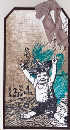 Baby tag Handmade Books, New Art, Altered Art, Tim Holtz, Gift Tags, Atc, Bookmarks, Newspaper, Postcards