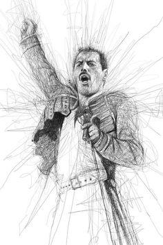 Freddy Mercury by Vince Low Pencil Art, Pencil Drawings, Art Drawings, Freddie Mercury, Reine Art, Vince Low, Art Du Monde, Rock Poster, Scribble Art