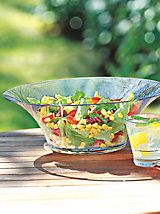 "Shatterproof bowls- plastic serving, salad bowl | Solutions Shatterproof Serving Bowl proves beauty can be tough. Serve in style and don't worry about breakage. Elegant bowl combines the clarity and feel of glass but is actually durable polycarbonate, perfect for your pool parties and barbecues. Chill in the refrigerator or freezer—super insulation keeps fruits and salads at cool temperatures longer. Won't ""craze"" or haze. Dishwasher safe. 13-1/2"" dia. $19.97"