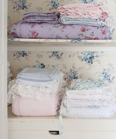 The perfect linen closet stacked with florals, ruffles & embroidery.