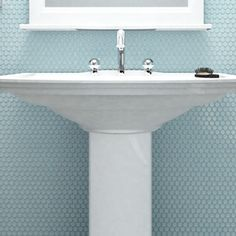 SomerTile 9.75x11.5-inch Victorian Penny Matte Light Blue Porcelain Mosaic Floor and Wall Tile (Pack of 10)
