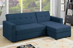 Poundex Sectional Sofa F7895 $328  With bold and clean lines, this adjustable sectional sofa doubles as a traditional sectional sofa, a resting unit, and a storage unit perfect for storing blankets and other personal items. Available in black (faux leather), navy (polyfiber), and grey (polyfiber).Material :Wood: HardwoodPolyfiberColor:NavyDimensions :ADJUSTABLE SOFA (UP) : 56