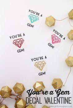 You're a Gem vinyl decal valentine on www.girllovesglam.com