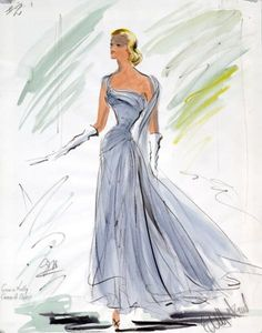 """Classic Edith Head design for Grace Kelly to wear in """"To Catch A Thief""""....love the elegance!"""