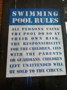 Swimming pool rules... :) Swimming Pool Rules, Pool Fun, Cool Pools, Pool Decks, Pool Houses, Pavilion, Backyard Ideas, Pool Rules, Houses With Pools