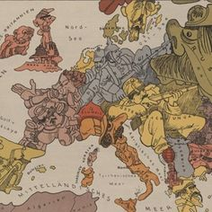 Drawn by German graphic artist Walter Trier, this map from 1914 depicts the personalities of different European countries. History Class, World History, Ww1 Art, Propaganda Art, World War One, European History, Historical Maps, Cartography, Illustrators