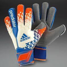 adidas Goalkeeper Gloves - adidas Predator Pro Wet Grip - Goalkeeping - Goalie Gloves - White-Orange-Blue Beauty