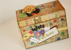 Hybrid Altered Recipe Box that my friend Kathy Murray made for The Shabby Shoppe Blog