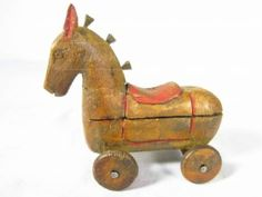 Antique Wooden Hand Carved Kiddy Toy...Pretty Nice.