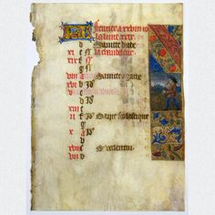 Mittelalterliches Pergamentblatt aus einem reich verzierten französischen Stundenbuch. Ein Kalenderblatt des Monats Februar mit sehr filigraner beidseitiger Miniaturmalerei und üppiger Goldverzierung. Ein sehr schönes Unikat aus einem mittelalterlichen Skriptorium, herausgegeben in Nordfrankreich um 1480.  ABMESSUNGEN: Blatt: ca. H 14,9 cm x B 10,9 cm
