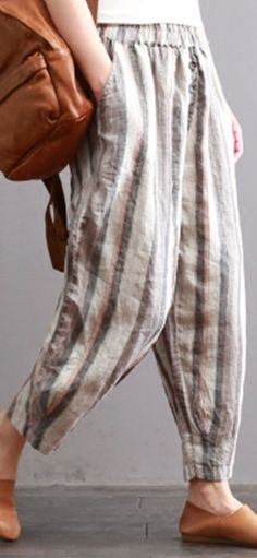 UP TO 55% OFF! Vintage Striped Elastic Waist Pants with Pockets. SHOP NOW!