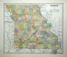 1896 Antique Map of Missouri by bananastrudel on Etsy