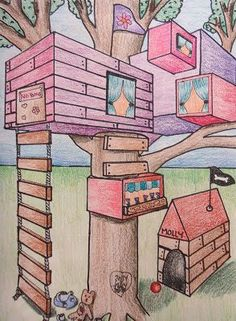 Mini Matisse: Student Samples of the Two Point Perspective Tree House. Elementary art lessons.