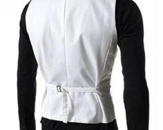 Kvalitná dvojitá pánska vesta ku obleku v bielej farbe Fashion, Moda, Fasion
