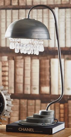 """Dial up the """"cool factor"""" of your office with our Metal and Crystal Table Lamp."""