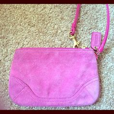 Coach hot pink suede wristlet. Used but in good condition! Coach Bags Clutches & Wristlets