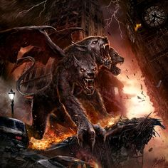 Hell Hound by DusanMarkovic Cerberus modern demon wings giant monster beast creature animal | Create your own roleplaying game material w/ RPG Bard: www.rpgbard.com | Writing inspiration for Dungeons and Dragons DND D&D Pathfinder PFRPG Warhammer 40k Star Wars Shadowrun Call of Cthulhu Lord of the Rings LoTR + d20 fantasy science fiction scifi horror design | Not Trusty Sword art: click artwork for source