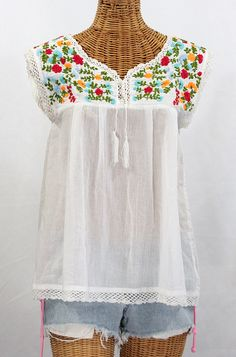"""Siren """"La Marbrisa"""" Embroidered Mexican Sleeveless Peasant Blouse Top -White   Fiesta $52.95"""