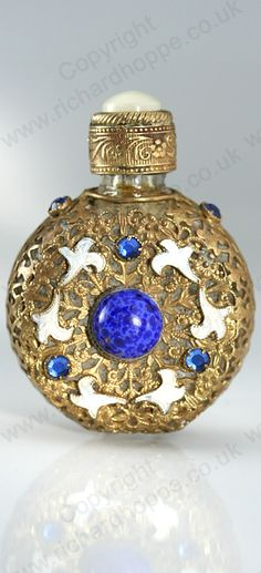VINTAGE c.1950s-60s CZECHOSLOVAKIAN CAGED & JEWELLED GLASS SCENT PERFUME BOTTLE. This item is sold, to visit my website to see what's in stock click here: http://www.richardhoppe.co.uk or for help or information email us here: info@richardhoppe.co.uk