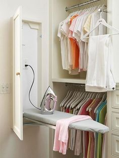 Built-In Ironing Board cabinet in laundry room or master closet Home Organization, Laundry Mud Room, Closet Bedroom, Laundry Room Design, Closet Designs, Closet Hacks Organizing, Closet Space, Closet Design, Ironing Board Cabinet