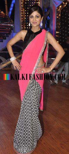 http://www.kalkifashion.com/ Shilpa Shetty in look stunning in Manish Malhotra half and half saree on the set of Nach Baliye