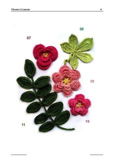 28 different varieties of flowers and leaves to crochet, written and diagram patterns